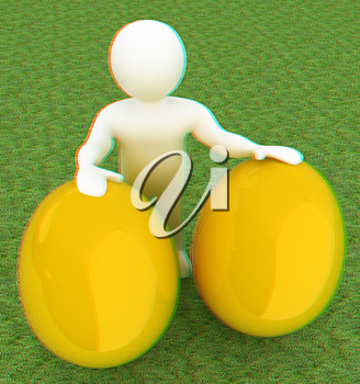 3d small person holds the big Easter egg in a hand. 3d image. On green grass. 3D illustration. Anaglyph. View with red/cyan glasses to see in 3D.