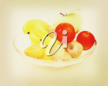 Citrus on a white background. 3D illustration. Vintage style.