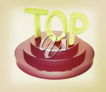 Top icon on white background. 3d rendered image. 3D illustration. Vintage style.