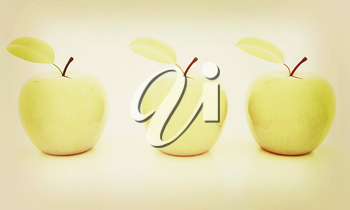 apples on a white background. 3D illustration. Vintage style.