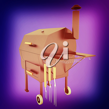 oven barbecue grill on a blue background. 3D illustration. Vintage style.