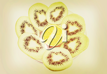 slices of kiwi and orange on a white background. 3D illustration. Vintage style.