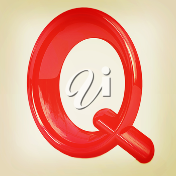 Alphabet on white background. Letter Q on a white background. 3D illustration. Vintage style.