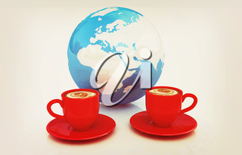 Coffee Global World concept on a white background. 3D illustration. Vintage style.