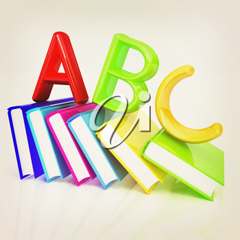 alphabet on a colorful real books on white background. 3D illustration. Vintage style.
