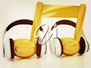 headphones and 3d note on a white background. 3D illustration. Vintage style.