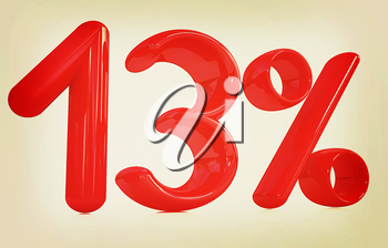 3d red 13 - thirteen percent on a white background. 3D illustration. Vintage style.