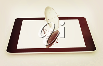 The concept of mobile high-speed Internet on a white background. 3D illustration. Vintage style.