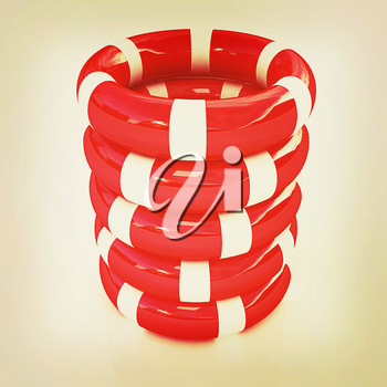 Red lifebelts on a white background. 3D illustration. Vintage style.
