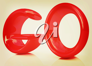 3d red text go on a white background. 3D illustration. Vintage style.