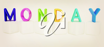 Colorful 3d letters Monday on white cubes on a white background. 3D illustration. Vintage style.