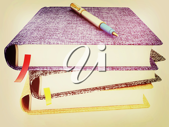 pen on notepad stack on a white background. 3D illustration. Vintage style.