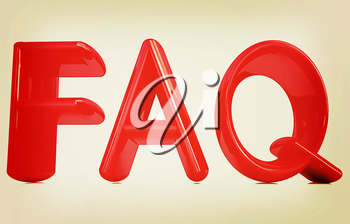 FAQ 3d red text on a white background. 3D illustration. Vintage style.