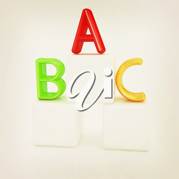 alphabet and blocks on a white background. 3D illustration. Vintage style.