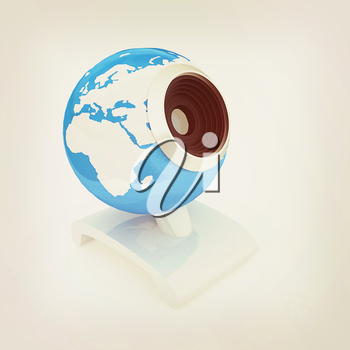 Web-cam for earth. Global on line concept on a white background. 3D illustration. Vintage style.