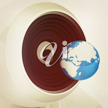 Web-cam and earth. Global on line concept on a white background. 3D illustration. Vintage style.