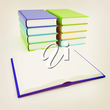 colorful real books on white background. 3D illustration. Vintage style.