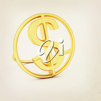 3d text gold dollar icon on a white background. 3D illustration. Vintage style.