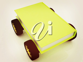 On race cars in the world of knowledge concept. . 3D illustration. Vintage style.