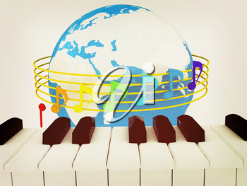 Global Music. Isolated on white background. 3D illustration. Vintage style.