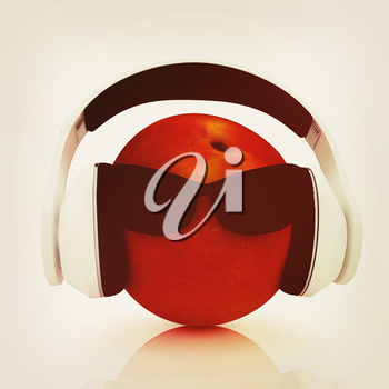 fresh peaches with sun glass and headphones front face on a white background. 3D illustration. Vintage style.