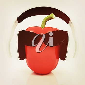 Bell peppers with sun glass and headphones front face on a white background. 3D illustration. Vintage style.