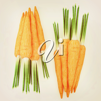 Heap of carrots on a white background