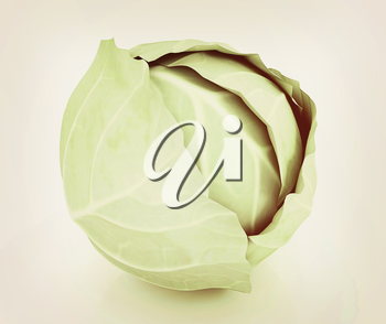 Green cabbage on a white background. 3D illustration. Vintage style.