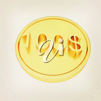 Gold 100 dollar coin on a white background. 3D illustration. Vintage style.