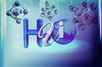Global water background with molecule. 3D illustration. Vintage style.