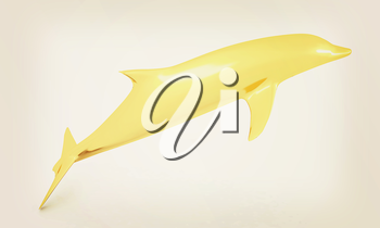 golden dolphin on a white background. 3D illustration. Vintage style.