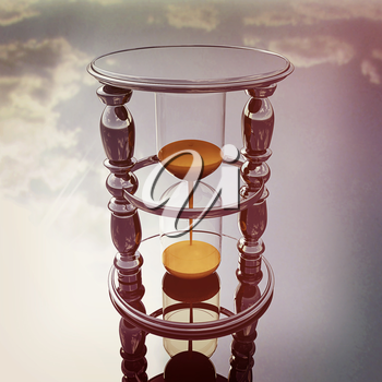 Chrome hourglass on a chrome reflective background. 3D illustration. Vintage style.
