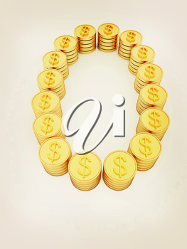 the number zero of gold coins with dollar sign on a white background. 3D illustration. Vintage style.
