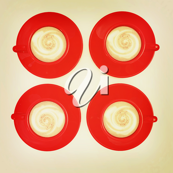 red cups of coffee with milk. 3D illustration. Vintage style.