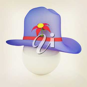 Blue hat on a blue hat with fantastic flower on white background. 3d. 3D illustration. Vintage style.
