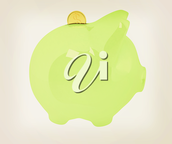 piggy bank and falling coins on white background. 3D illustration. Vintage style.