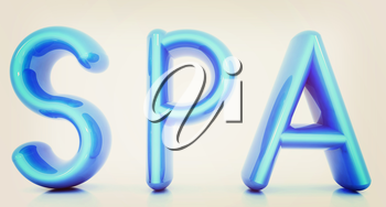 Spa 3d text on a white background. 3D illustration. Vintage style.
