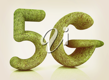 5g modern internet network. 3d text of grass on a white background. 3D illustration. Vintage style.