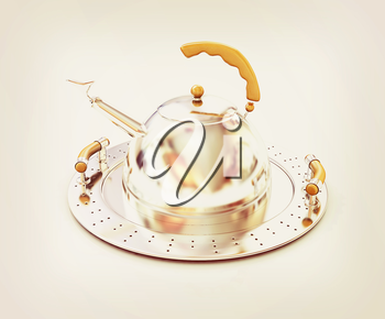 Chrome teapot on platter on a white background. 3D illustration. Vintage style.