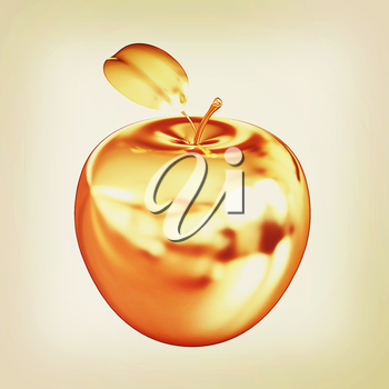 Gold apple isolated on white background . 3D illustration. Vintage style.