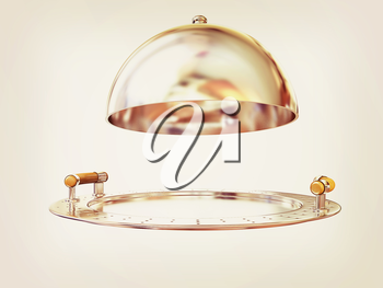 Restaurant cloche isolated on white background . 3D illustration. Vintage style.