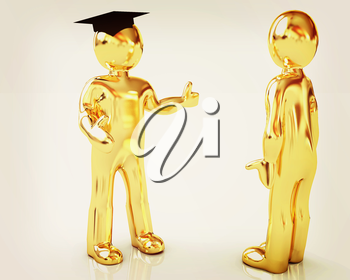 Golden 3D mans in a grad hat and a man on a white background . 3D illustration. Vintage style.