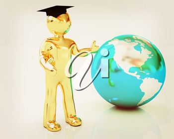 The world is opened for you. Education on a white background. 3D illustration. Vintage style.