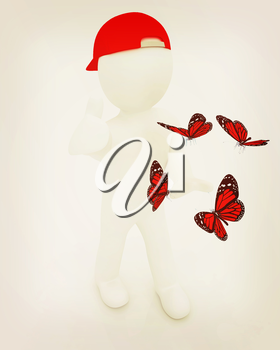 3d man in a red peaked cap with thumb up and butterflies on a white background. 3D illustration. Vintage style.