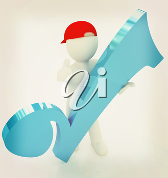 3d man in a red peaked cap with thumb up and a huge tick on a white background. 3D illustration. Vintage style.