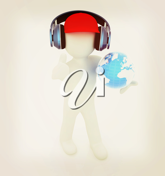 3d white man in a red peaked cap with thumb up, tablet pc and headphones. Global concept with blue earth . 3D illustration. Vintage style.