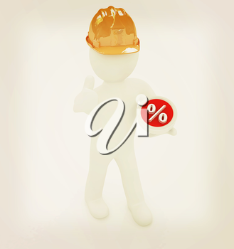 3d man in a hard hat with thumb up presents best percent on a white background. 3D illustration. Vintage style.