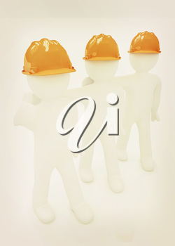 3d mans in a hard hat with thumb up on a white background. 3D illustration. Vintage style.
