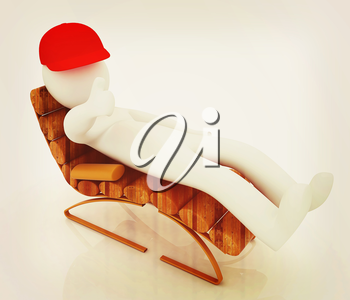 3d white man lying wooden chair with thumb up on white background . 3D illustration. Vintage style.