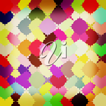 Many-colored puzzle pattern (removable pieces). . 3D illustration. Vintage style.